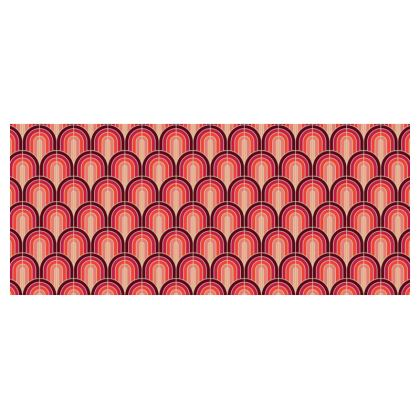 Scallop Pattern Cup And Saucer In Shades Of Burgundy, Red and Pink.
