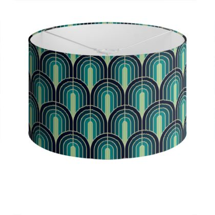 Scallop Pattern Lampshade In Shades Of  Blue And Turquoise