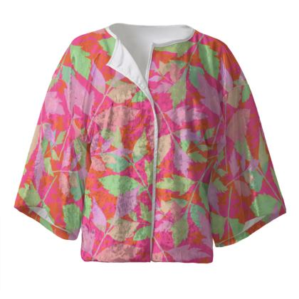 Pink, Green Kimono Jacket  Cathedral Leaves  Trifle