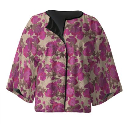 Pink, Mauve Kimono Jacket  Field Poppies  Pink Poppies