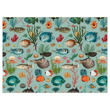 Fabric by the metre Oceania in Duck Egg Blue