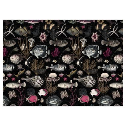 Fabric by the metre Oceania in Black Fuchsia Olive Grey