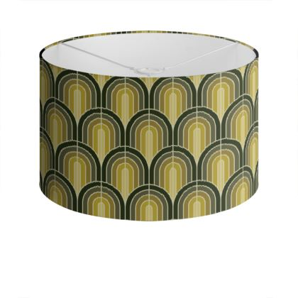 Scallop Pattern Lampshade In Shades Of Mossy, Sage and Olive Greens.