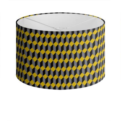 Grey, Yellow and Black Cube Pattern Lampshade.