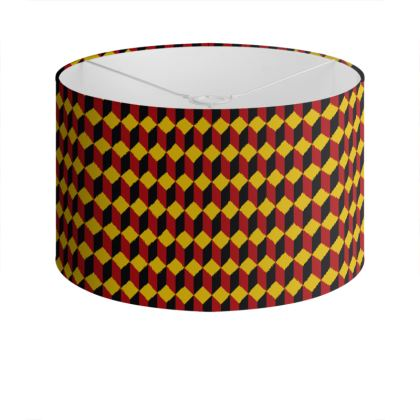 Red, Yellow and Black Cube Pattern Lampshade.