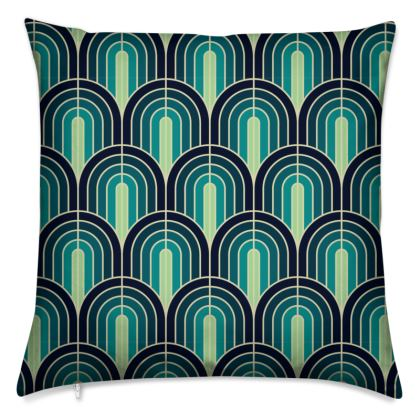 Scallop Pattern Cushion In Shades Of Blue And Turquoise.