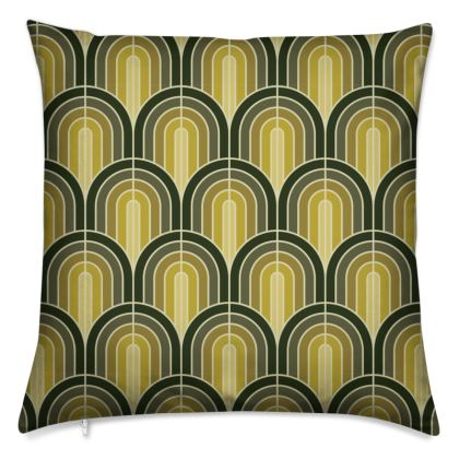 Scallop Pattern Cushion In Shades Of Mossy, Sage and Olive Greens.
