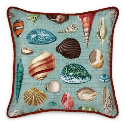 Silk Cushion Nautilus in duck egg blue