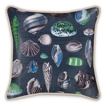 Silk Cushion Nautilus in navy cobalt blue green