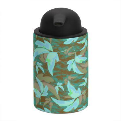 Teal Soap Dispenser  Leaves in Flight  Forest