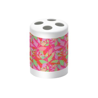 Pink, Green Toothbrush Holder  Cathedral Leaves  Tropical