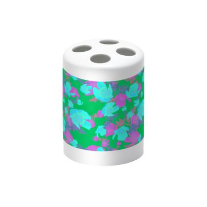 Green, Mauve  Toothbrush Holder  Field Poppies  Violet Green