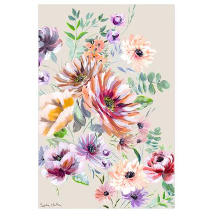Traditional Floral Art Print in Bright