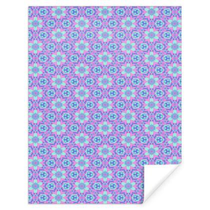 Blue  Gift Wrap  Geometric florals  Hyacinth