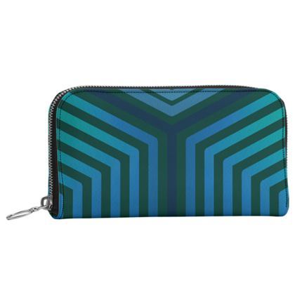 Leather Zip Purse - Emmeline Anne Teal Angles