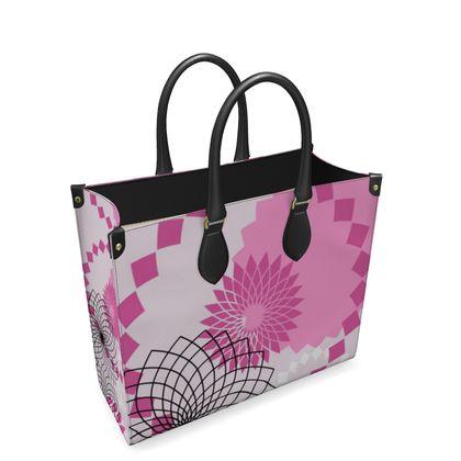 Leather Shopper Bag- Emmeline Anne Pink Patterns