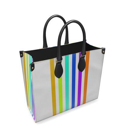Leather Shopper Bag- Emmeline Anne Colourful Stripes