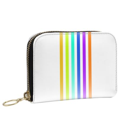 Small Leather Zip Purse- Emmeline Anne Colourful Stripes