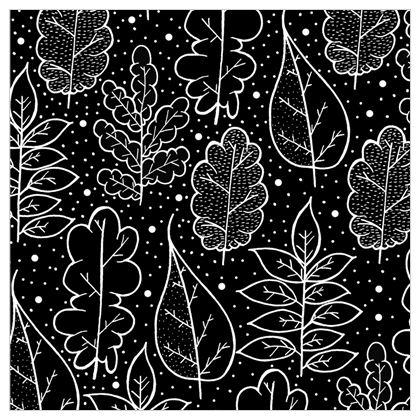 Fabric Printing - Autumn (Black and white)