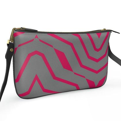 Pochette Double Zip Bag- Emmeline Anne Pink and Silver Zigzags