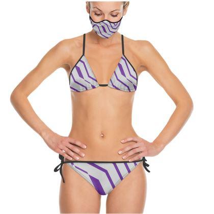 Trikini- Emmeline Anne Purple and Silver Zigzags