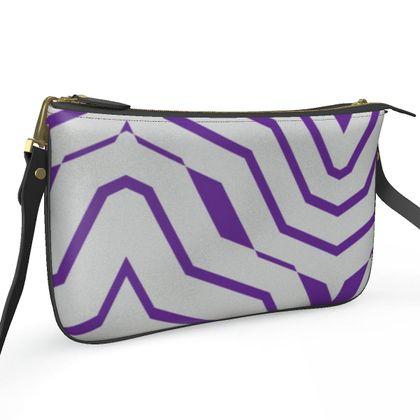 Pochette Double Zip Bag- Emmeline Anne Purple and Silver Zigzags