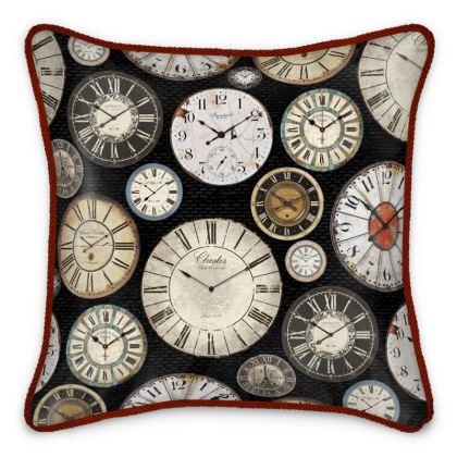 Silk Cushion Vintage clocks black