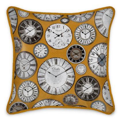 Silk Cushion Vintage clocks mustard grey