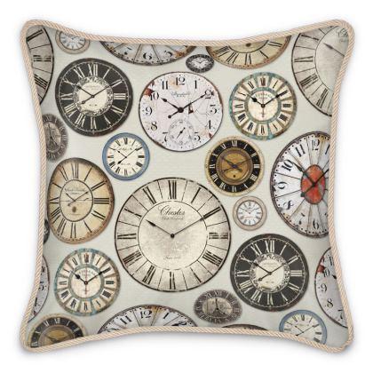 Silk Cushion Vintage clocks greige