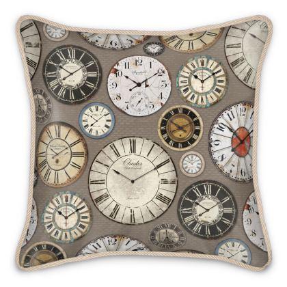 Silk Cushion Vintage clocks taupe