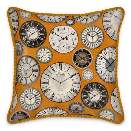 Silk Cushion Vintage clocks orange