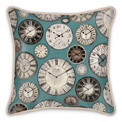 Silk Cushion Vintage clocks duck egg blue