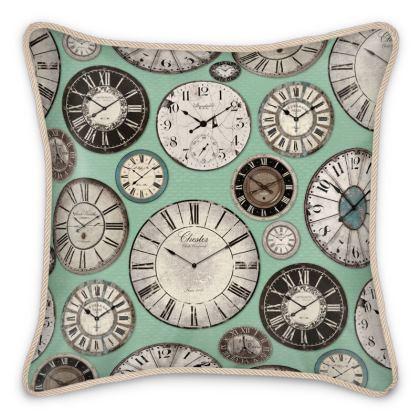 Silk Cushion Vintage clocks mint green
