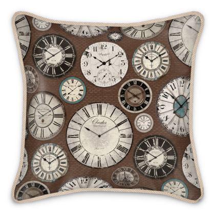 Silk Cushion Vintage clocks brown