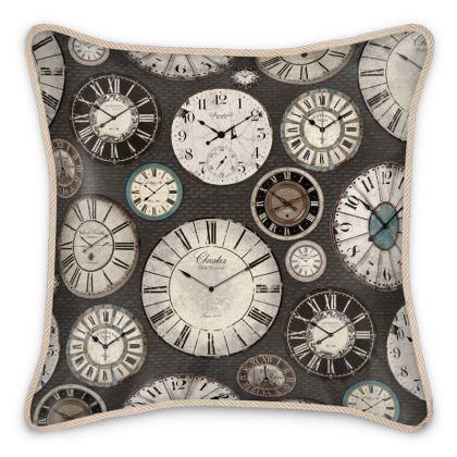 Silk Cushion Vintage clocks charcoal grey