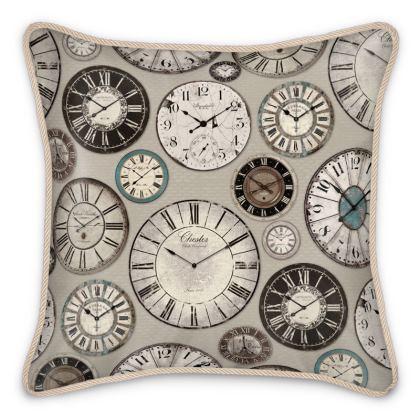 Silk Cushion Vintage clocks grey blue brown