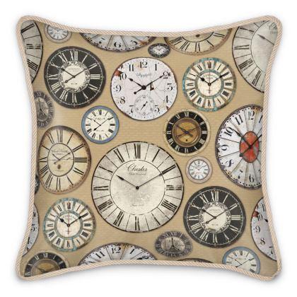 Silk Cushion Vintage clocks warm beige