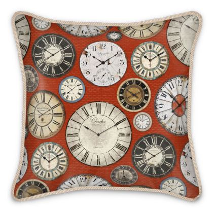 Silk Cushion Vintage clocks red