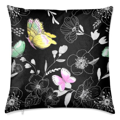 Butterfly Rhapsody in Black Luxury Cushions