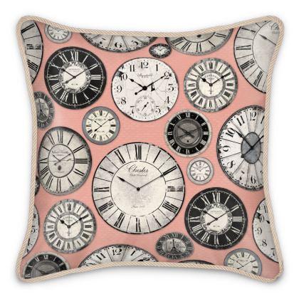 Silk Cushion Vintage clocks blush pink grey