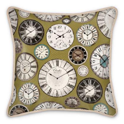 Silk Cushion Vintage clocks olive green