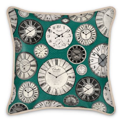Silk Cushion Vintage clocks emerald green grey
