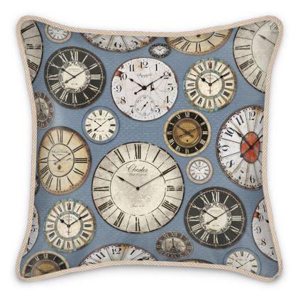 Silk Cushion Vintage clocks slate blue
