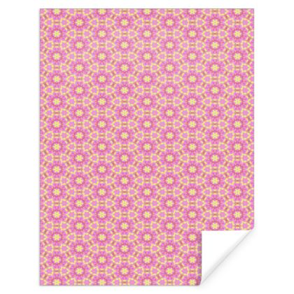 Pink Gift Wrap  Geometric Florals  Ring of Roses