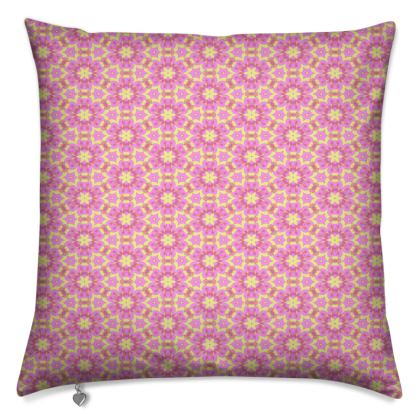 Pink Cushions  Geometric Florals  Ring of Roses