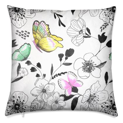 Butterfly Rhapsody in White Luxury Cushions