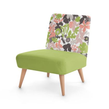 Occasional Chair Retro Mod Pink Green