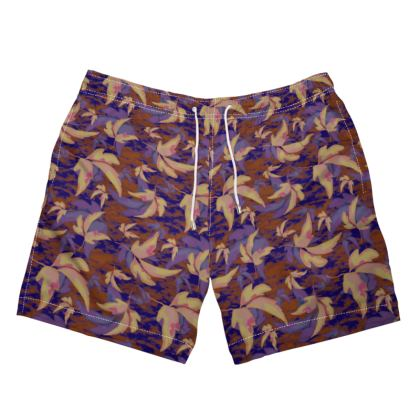 Mens Swimming Shorts  Leaves in Flight  Woodchip