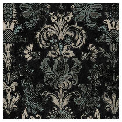 Luxury Cushion Grunge Damask Black Grey Duck Egg