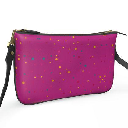 Pochette Double Zip Bag- Emmeline Anne MagentaDots